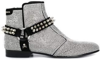 Philipp Plein crystal embellished biker boots