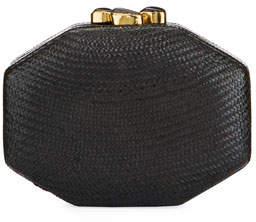 Rafe Sofia Straw Clutch Bag, Black
