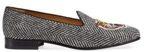 Gucci Herringbone Slipper With Tiger Applique