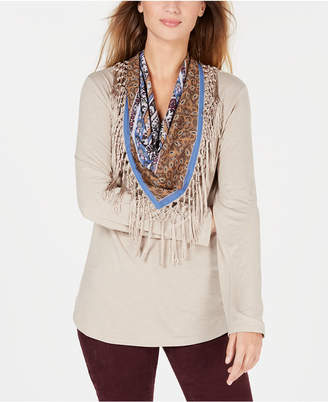 Style&Co. Style & Co Petite Scarf-Neck Fringed Top