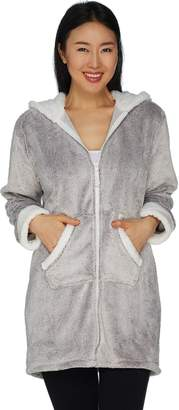 Cuddl Duds Frosted Fleece Zip-Up Robe with Sherpa Trim e2705234b