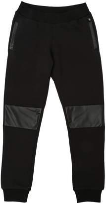 Philipp Plein Junior Cotton Sweatpants W/ Faux Leather