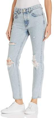 Rag & Bone High-Rise Distressed Skinny Jeans in Madison with Hole