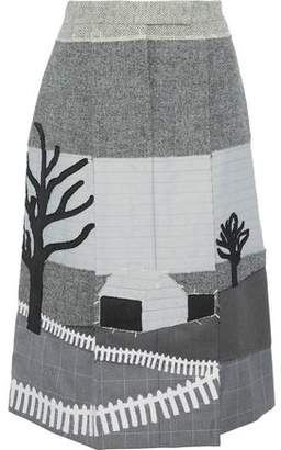 Thom Browne Pleated Patchwork Wool Silk And Cotton Midi Skirt