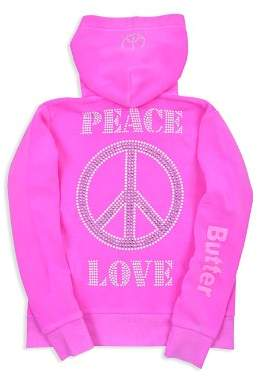 Butter Shoes Girls' Peace & Love Fleece Zip-Up Hoodie - Big Kid, Little Kid