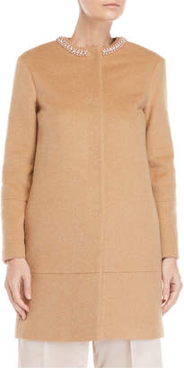 Blugirl Camel Embellished Neck Coat