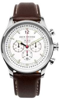 Jack Mason Nautical Stainless Steel& Italian Leather Strap Watch