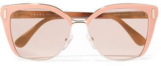 Prada - Square-frame Acetate And Gold-tone Sunglasses - Pink $360 thestylecure.com