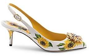 Dolce & Gabbana Women's Jewelled Sunflower Leather Slingback Pumps