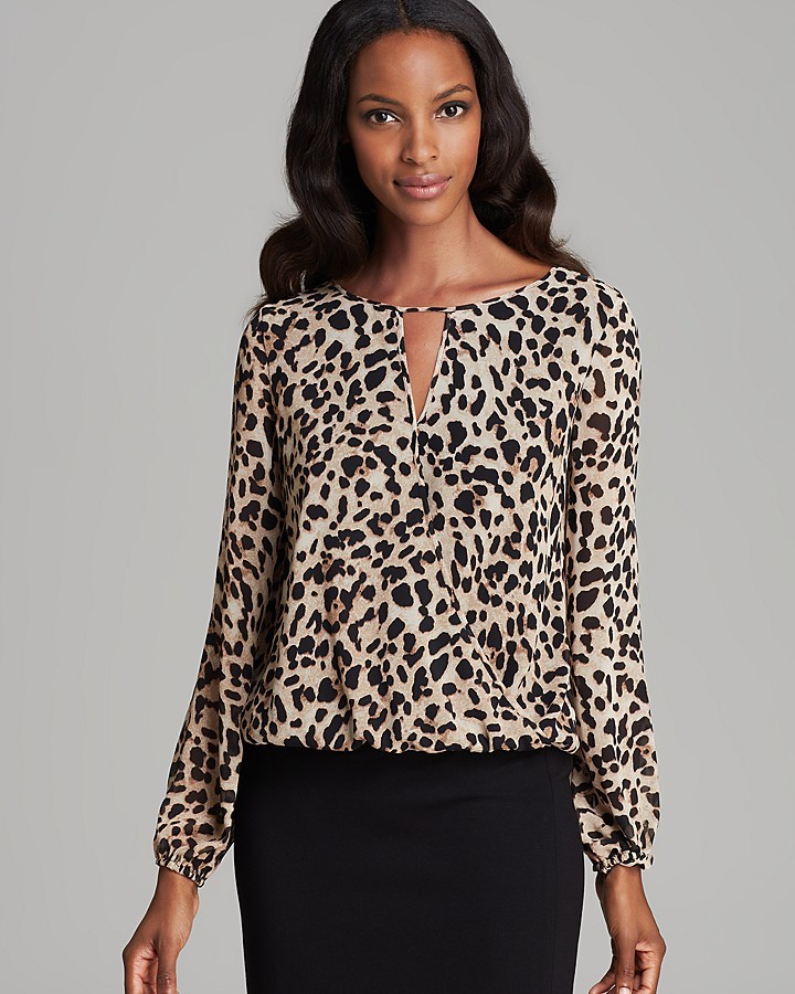 Vince Camuto Wrap Front Animal Print Blouse