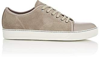 Lanvin Men's Suede & Leather Cap-Toe Sneakers - Beige, Tan