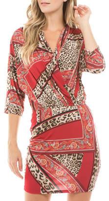 Va Va Vava By Joy Hahn Livia leopard floral kimono dress