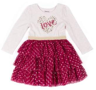 Little Lass Long Sleeve Tulle Tiered Ruffle Skirt Dress (Baby Girls & Toddler Girls)