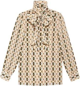 Gucci Silk shirt with Web GG print