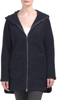 Womens Knit Hooded Polar Fleece Jacket