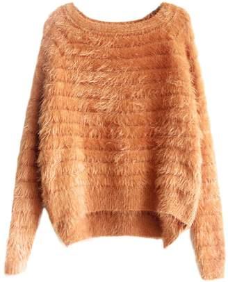 Sevozimda Women Casual Long Sleeve Scoop Neck Furry Tunic Sweater Pullover