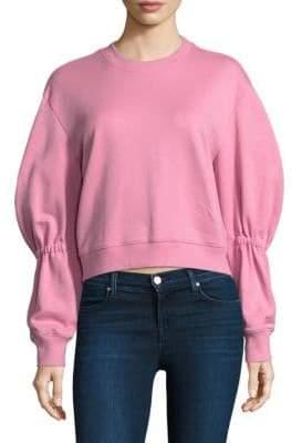 Tibi Shirred Cotton Sweatshirt