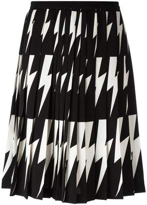 Neil Barrett lightning bolt pleated skirt