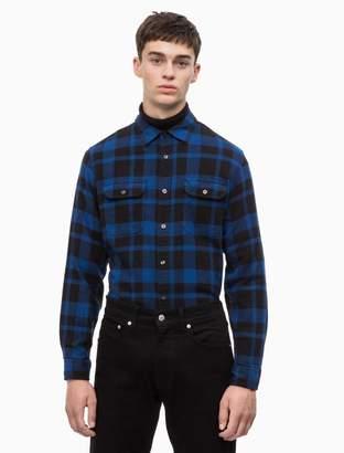 Calvin Klein slim fit brushed twill logo shirt