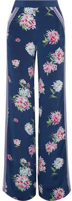 Talitha - Floral-print Silk Crepe De Chine Pants - Navy