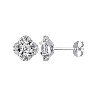 Laura Ashley FINE JEWELRY Laura Asley 1/3 CT. T.W. Genuine White Diamond 9mm Stud Earrings