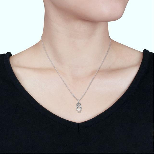 Julie Leah 10K White Gold Owl Pendant Necklace with Diamond Accents