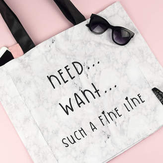 A Fine Line Lola & Gilbert London Ltd. 'Need... Want... Such A Fine Line' Marble Tote Bag