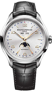 Baume & Mercier Baume& Mercier Baume& Mercier Men's Clifton 10055 Moonphase Stainless Steel& Alligator Strap Watch