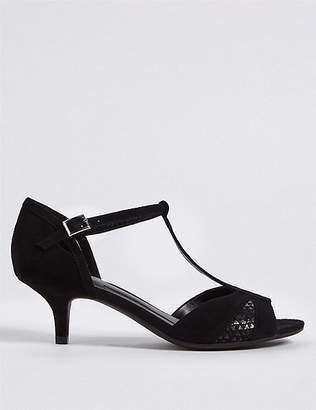 Marks and Spencer Wide Fit Suede Kitten Heel Buckle Sandals