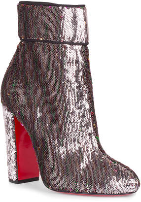 Christian Louboutin Moulamax 100 silver sequin bootie