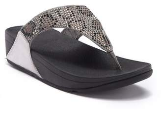 FitFlop Lulu Leopard Crystal Wedge Thong Sandal