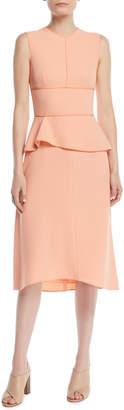 Narciso Rodriguez Sleeveless Crepe Peplum Midi Dress