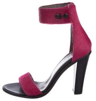 Tibi Ponyhair Ankle Strap Sandals