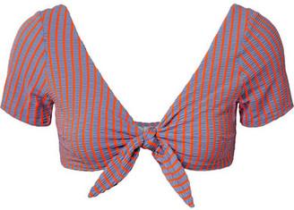 Solid & Striped The Vanessa Striped Seersucker Bikini Top - Lavender