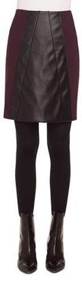 Akris Punto Short Napa Leather/Jersey A-Line Skirt