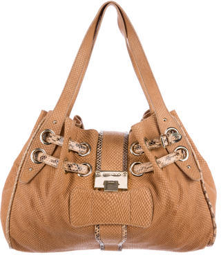 Jimmy Choo Jimmy Choo Snakeskin-Trimmed Ramona Bag