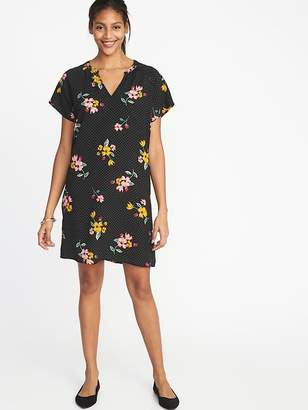 Old Navy Floral-Print Crepe Shift Dress for Women