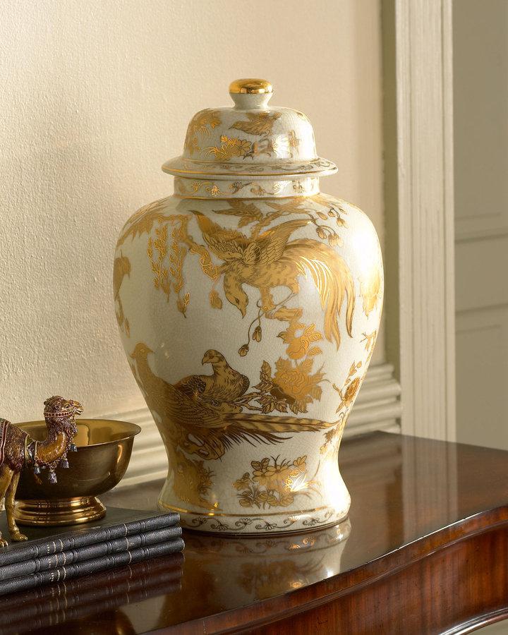 Horchow Gold Temple Jar