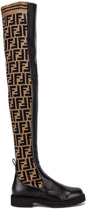 Fendi Logo Over the Knee Boots in Black & Brown | FWRD