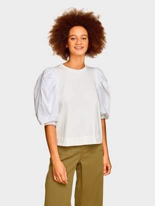White + Warren Luxurious Women's Cashmere Sweaters & Travel Wraps Combed Cotton Poplin Puff Sleeve Top