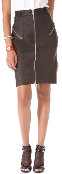 McQ Alexander McQueen Stretch Leather Pencil Skirt