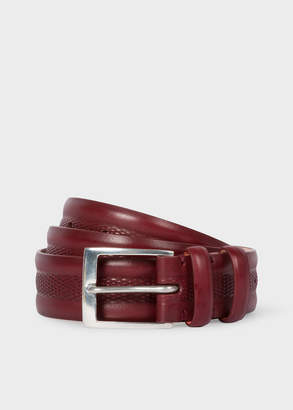 Paul Smith Men's Burgundy Embossed Geometric Pattern Leather Belt