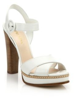Prada Stacked Heel Leather Platform Sandals $790 thestylecure.com
