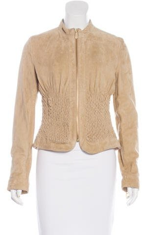 RED ValentinoRed Valentino Smocked Suede Jacket w/ Tags