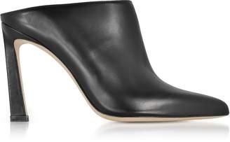 Stuart Weitzman Camila Black Nappa Leather High Heel Mules