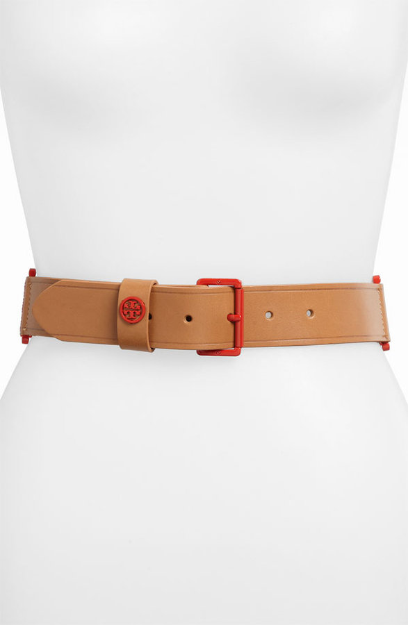 Tory Burch Vachetta Leather Stretch Belt