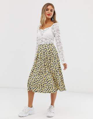 Asos Design DESIGN midi skirt with box pleats in yellow floral