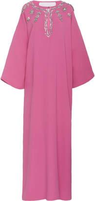 Carolina Herrera Embellished Drop Shoulder Silk Caftan Dress