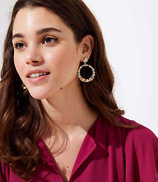 LOFT Stone Cluster Drop Earrings
