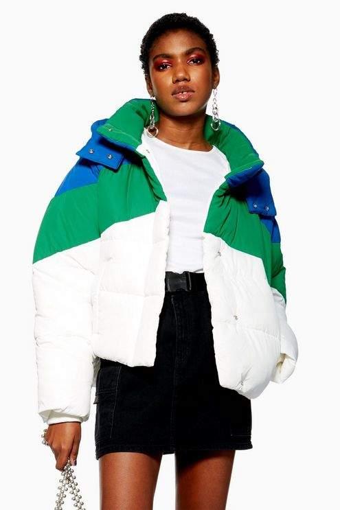 Petite Colour Block Puffer Jacket